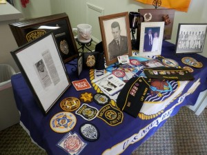 Memorabilia displayed at the memorial service for Denny Hemphill