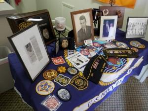Memorabilia displayed at the memorial service for Denny Hemphill